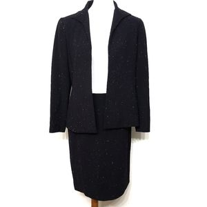 Lafayette 148 Black Wool Speckled Skirt Suit